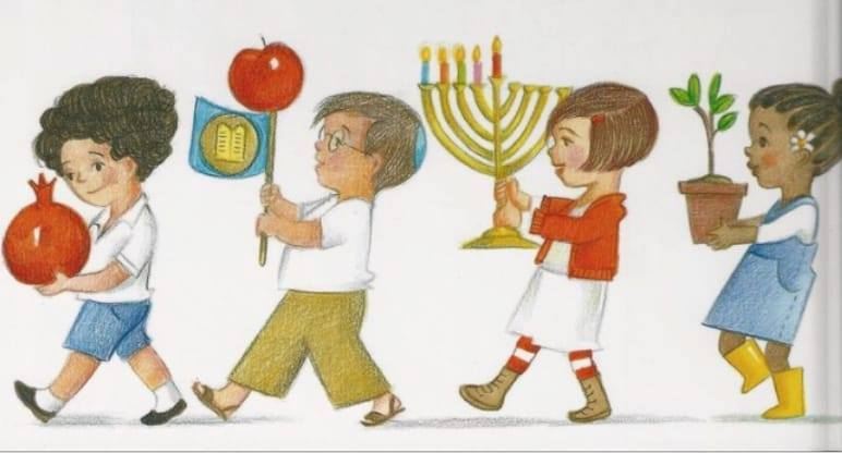 Children celebrating Rosh Hashanah