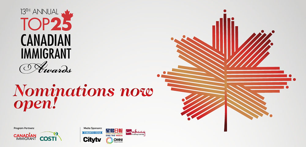 Featured image for Nominations are now open for the 13th Annual Top 25 Canadian Immigrant Awards!