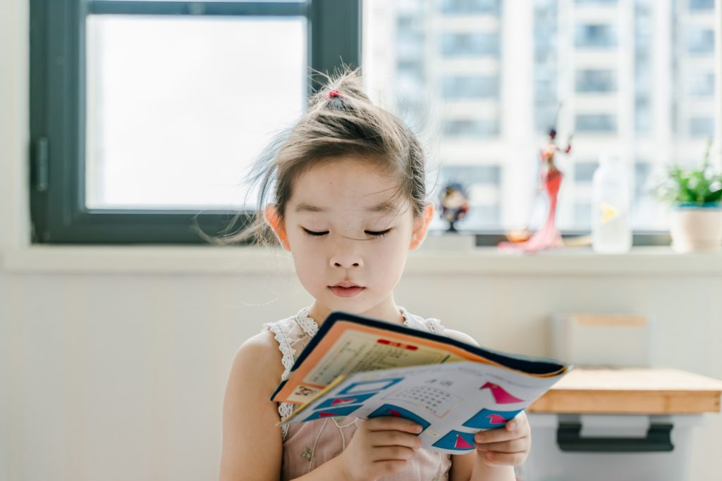 Young child reading a book.