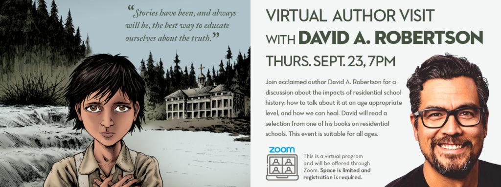 Virtual Author Visit with David A. Robertson, Thursday Sept. 23, 7pm